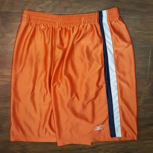 Reebok Athletic Shorts, Orange/White/Navy, Size L